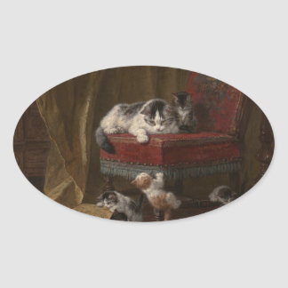 Cats family painting oval sticker