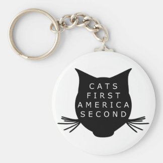 Cats First America Second Key Ring