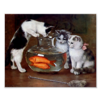 Cats Fishing in Goldfish bowl Poster