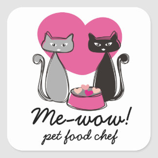 Cats food bowl hearts pet food chef package label square sticker