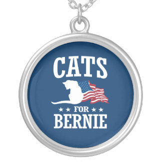 CATS FOR BERNIE SANDERS ROUND PENDANT NECKLACE