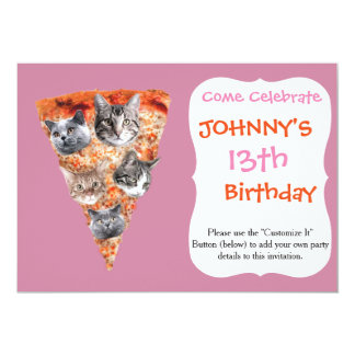 Cats For the Pizza-Lover 13 Cm X 18 Cm Invitation Card