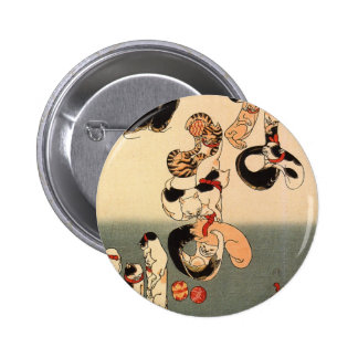 Cats forming the caracters for catfish by Utagawa 6 Cm Round Badge