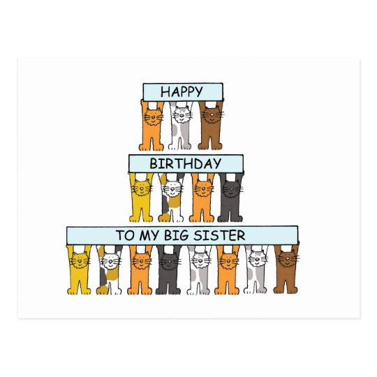Cats happy birthday big sister. postcard