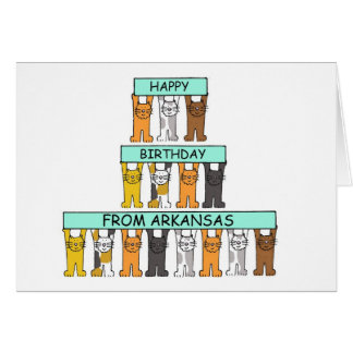 Cats Happy Birthday from Arkansas Card