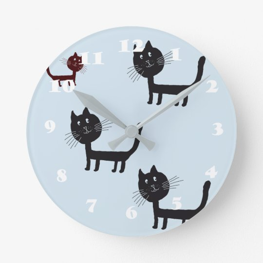 Cats Happy Black Kittens Drawing Wall Clock