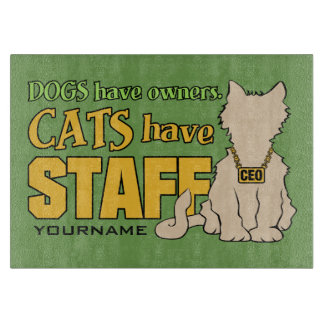 CATS HAVE STAFF custom cutting boards