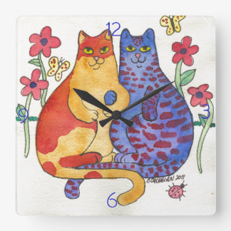 Cats Holding Hands Folk Art Square Wall Clock