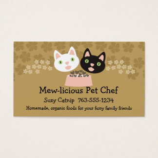 cats homemade pet food chef business cards\