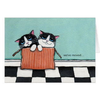 Cats in a Packing Box We ve Moved Note Card