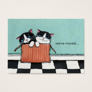 Cats in a Packing Box | We've Moved Announcement Business Card