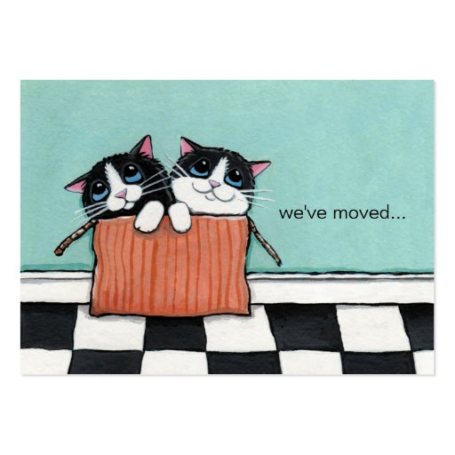 Cats in a Packing Box   We've Moved Announcement Business Card Template