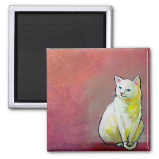 Cats in art fun white cat sitting for painting fridge magnets