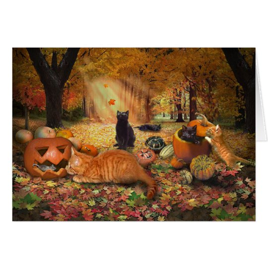 Cats in Autumn Card