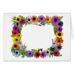 Cats in Flowers Border Greeting Cards