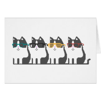 Cats In Glasses Row Pixel Art Greeting Card