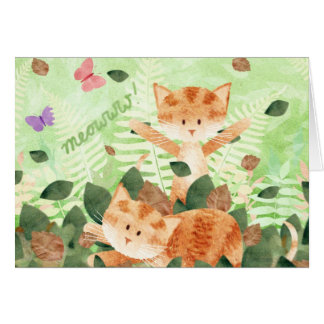 Cats in leaves - cards