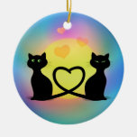 Cats in Love Double-Sided Ceramic Round Christmas Ornament