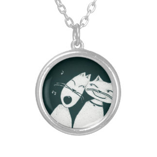 Cats in love round pendant necklace