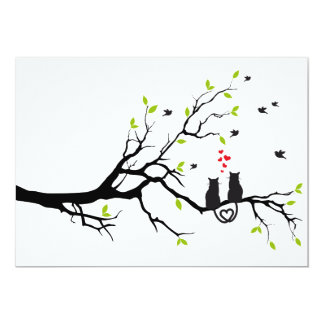 Cats in love on tree with red hearts 13 cm x 18 cm invitation card