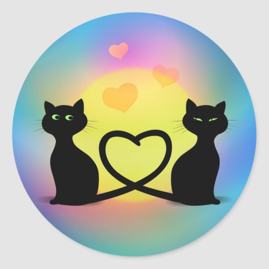 Cats In Love Round Sticker