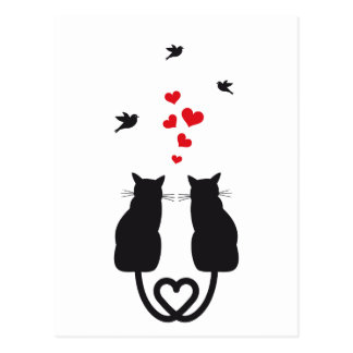 cats in love with hearts and birds postcard