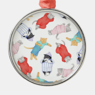 Cats in Pajamas Premium Round Ornament