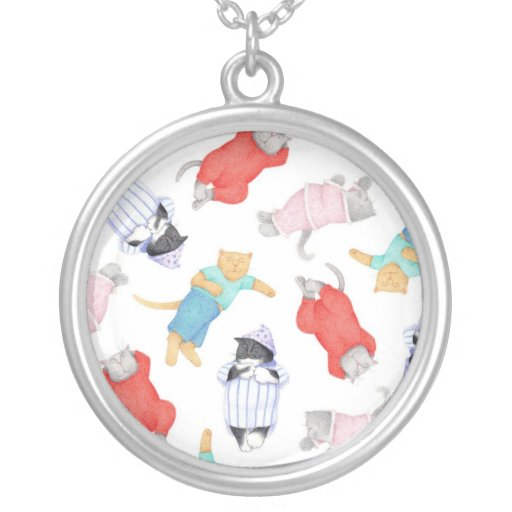 Cats in Pajamas Round Sterling Silver Necklace
