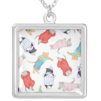 Cats in Pajamas Square Sterling Silver Necklace
