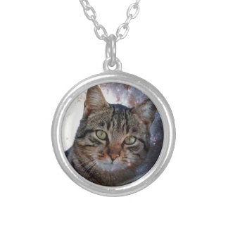 Cats in Space Round Pendant Necklace