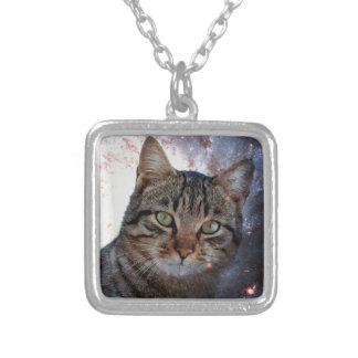 Cats in Space Square Pendant Necklace