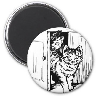 Cats in the Cabinet Artwork 6 Cm Round Magnet
