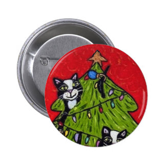 Cats in the Christmas Tree Button