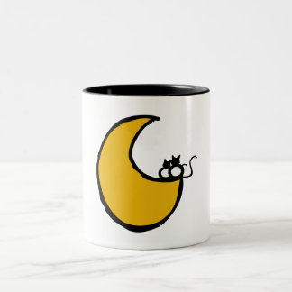 Cats in the Moon Two-Tone Coffee Mug