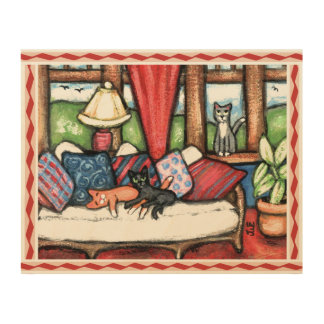 Cats In The Sunroom Wood Canvas Art
