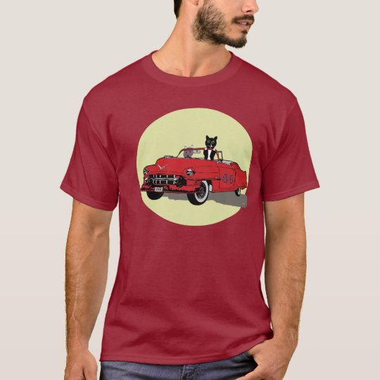 Cats in Vintage Red Car Men's Colour Tshirt