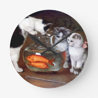 Cats Kittens Fishing in a Fish Bowl painting Round Clock