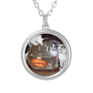 Cats Kittens Fishing in a Fish Bowl painting Silver Plated Necklace