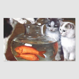 Cats Kittens Fishing in a Fish Bowl painting Rectangular Sticker
