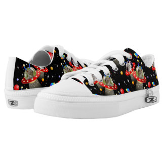 Cats Kittens in Alien Spaceships UFOs Sci Fi Low Tops