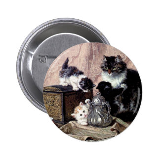 cats kittens playing tea party antique painting 6 cm round badge