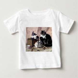cats kittens playing tea party antique painting baby T-Shirt