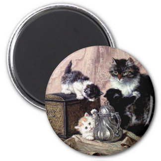 cats kittens playing tea party antique painting magnet