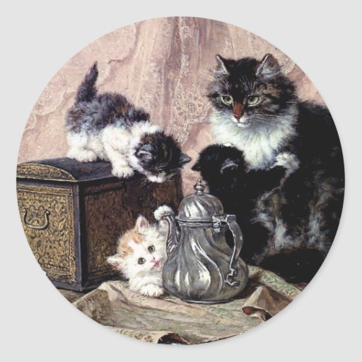 cats kittens playing tea party antique painting round stickers