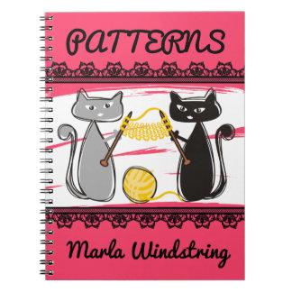 Cats knitting needles yarn crafts pattern notebook