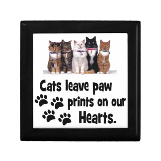 cats leave footprints on our hearts small square gift box