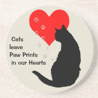 Cats leave paw-prints in our hearts drink coasters