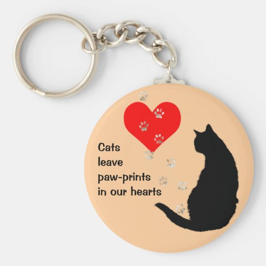 Cats leave paw-prints in our hearts key ring