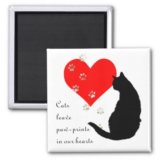 Cats leave paw-prints in our hearts refrigerator magnet