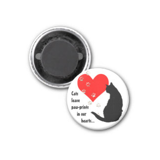 Cats leave Paw-Prints in our Hearts 3 Cm Round Magnet